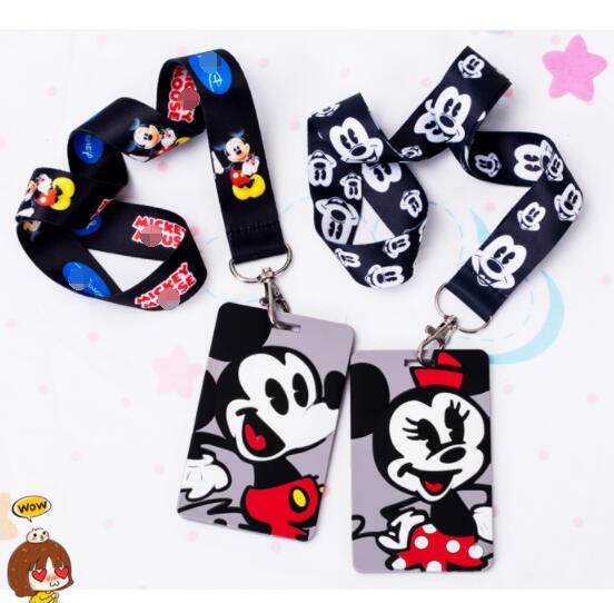 Retail 1 Pcs Cartoon  Mickey  Minnie Card With  Neck Strap Lanyard Mobile Phone Charms Key Chain  B101
