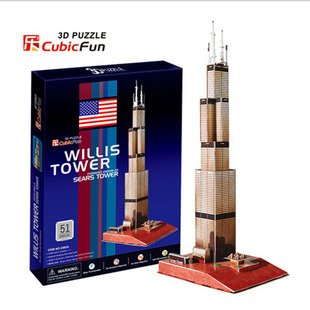CubicFun 3D puzzle paper model DIY toy Children gift C083H The WILLIS TOWER Formerly Known as Sears tower Building United States series s 3d puzzle paper diy papercraft double decker bus eiffel tower titanic tower bridge empire state building