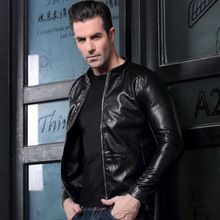 Men's pigskin motorbike actual leather-based jacket Genuine Leather jackets Autumn winter heat coat males No collar PU males's jacket