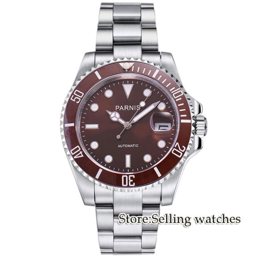 Parnis wrist watch MIYOTA Automatic movement 40mm coffee dial luminous Sapphire glass ceramic bezel Men's watch men цена и фото