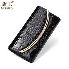 Купить с кэшбэком Long Purse For Women Wallets Genuine Leather Female Large Capacity  Money Phone Pocket Card Holder Crocodile Lady Clutch Bag