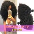Malaio Virgem Do Cabelo 3 Bundles Afro Kinky Curly Extensões de Cabelo Humano Remy Do Cabelo Virgem 7A Não Transformados Kinky Curly Virgem Cabelo
