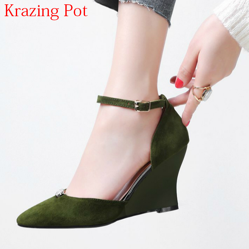 2018 Summer Shoes Kid Suede Wedges Crystal High Heels Shallow Women Pumps Pointed Toe Wedding Shallow Brand Ankle Strap Shoe L08 2017 new fashion brand spring shoes large size crystal pointed toe kid suede thick heel women pumps party sweet office lady shoe