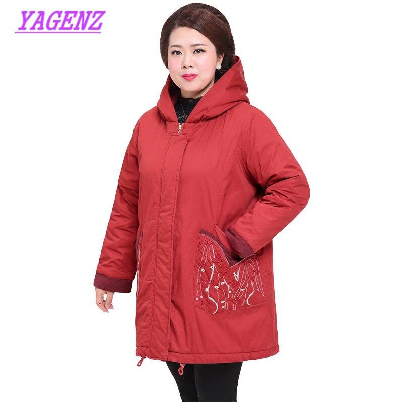 Femmes d'âge moyen hiver bas coton veste grande taille femmes lâche Long vêtements d'extérieur en coton de haute qualité à capuche pardessus 6XL 7XL 420 - 4