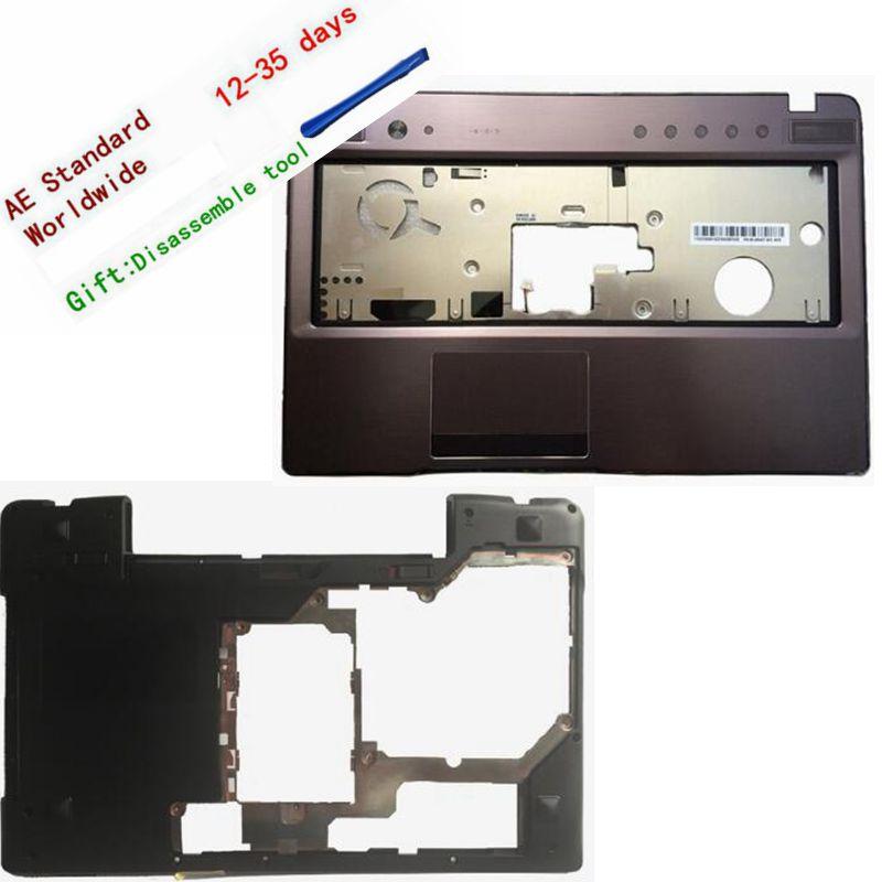 New For Lenovo Z570 Z575 Keyboard Bezel Palmrest Upper Case /Laptop Bottom  Base Case Cover