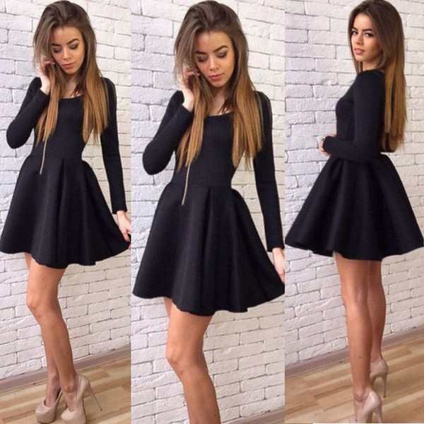 Fashion Women Lady Long Sleeve O Neck High Waist Casual Party