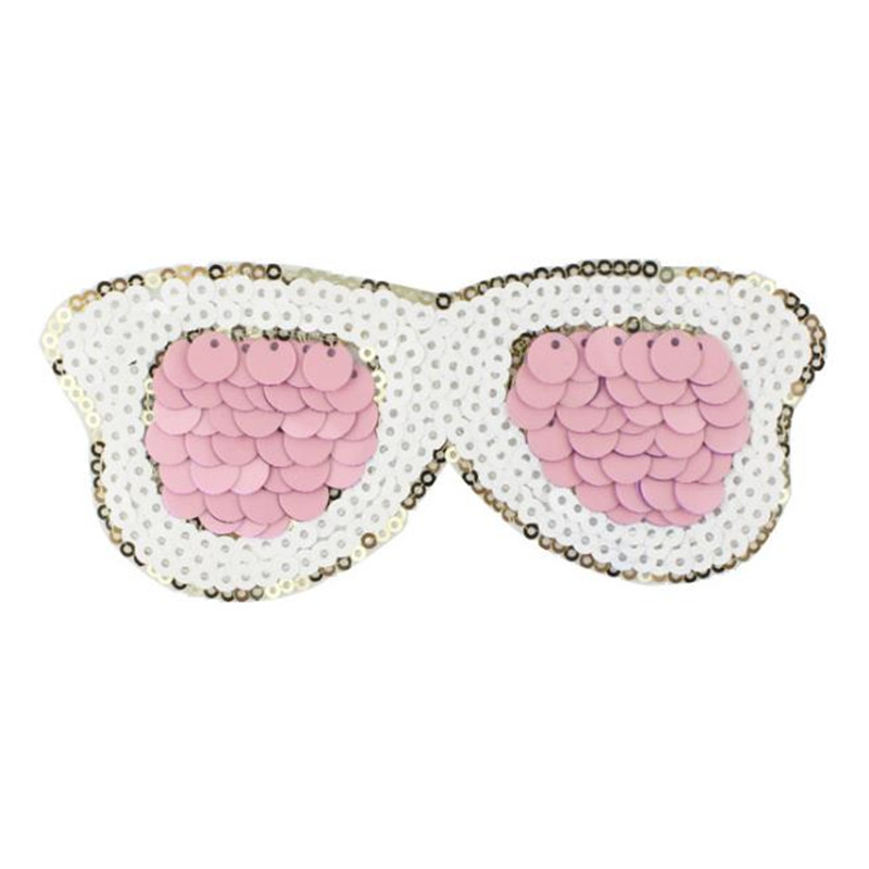 Fashion T shirt Women sequins patches for clothing 15cm pink glasses patch deal with it 3d t shirt mens Christmas gift stickers
