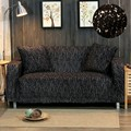 Knitted Elastic Sofa Cover Solid Slipcover Sofa All-inclusive 1/2/3/4 Seater Couch Warm Toned Black Cotton Cover For Living Room