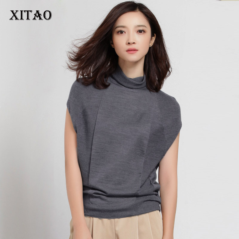 [XITAO] Autumn New Elegant Women Loose 50% Wool Solid Turtleneck Pullover Thin Sleeveless Casual Style Sweater HHB-002