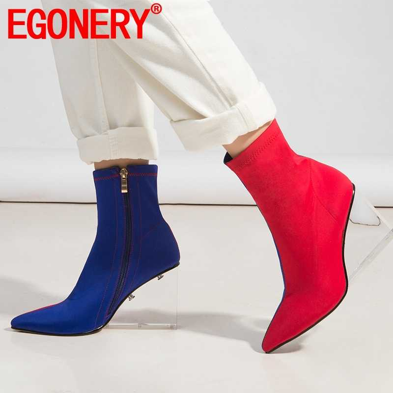 EGONERY frau kristall schuhe sexy mode 2019 winter 10cm heels Keil booties party frau Stretch stoff zipper ankle stiefel