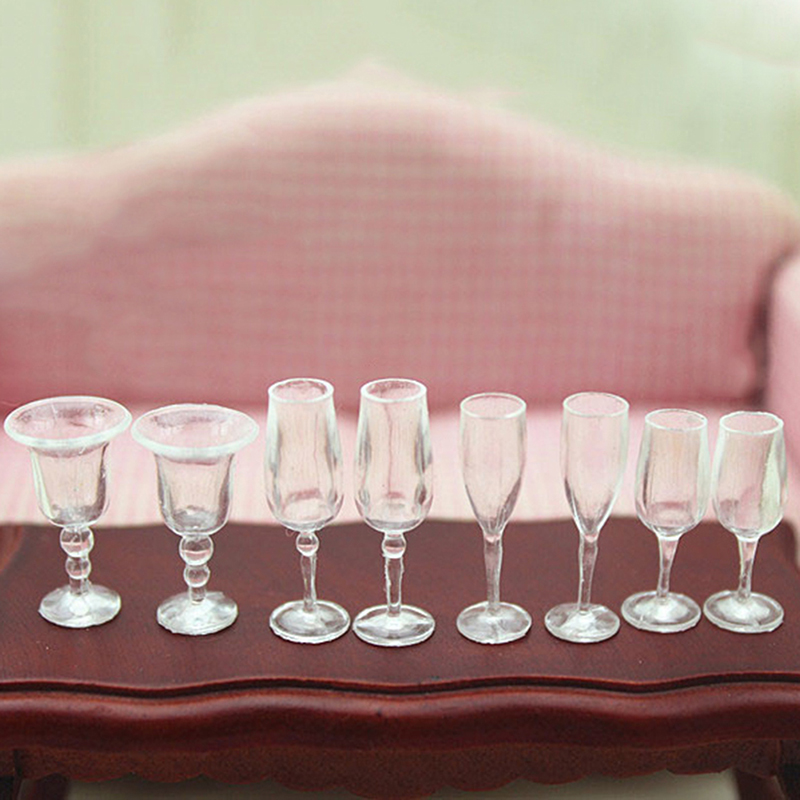 4Pcs/lot 1/12 Dollhouse Miniature Accessories Mini Resin Transparent Cup Simulation Furniture Model Toys For Doll House Decor