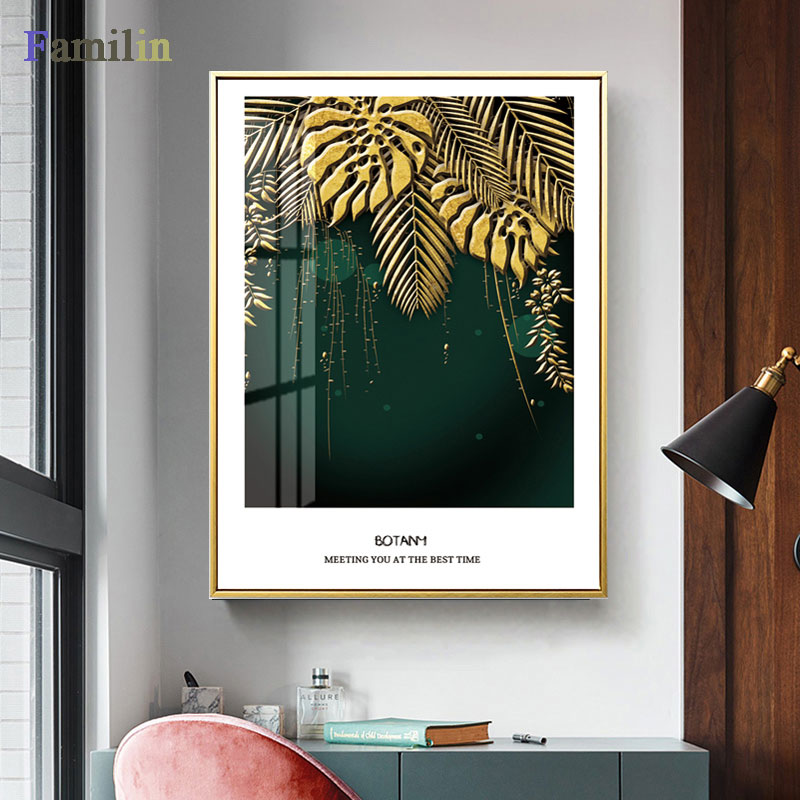 HTB1 JVtRH2pK1RjSZFsq6yNlXXag Green And Gold Pineapple Monstera Plant Painting Large Leaf Poster Print Wall Art For Living Room Aisle Unique Modern Decoration