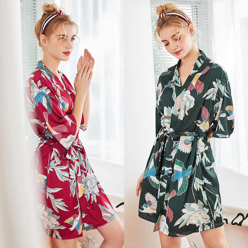 Verde 2019 verão roupão de dormir das mulheres camisola yukata lady rayon mini kimono banho vestido de pijama roupão mujer M-XXL