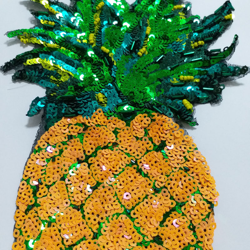 1pc 16 26cm pineapple Handmade rhinestone beaded Patches for clothing Sequin embroidery patch sew on parch fruits applique in Patches from Home Garden