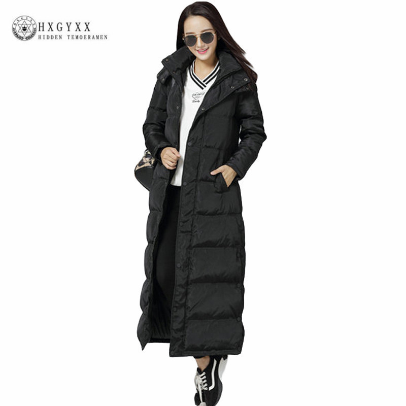 X-long Goose Feather Jacket Women Winter   Down     Coat   Long Plus Size Parka Thick Warm Slim Hooded Zipper Outerwear 2019 Okd325