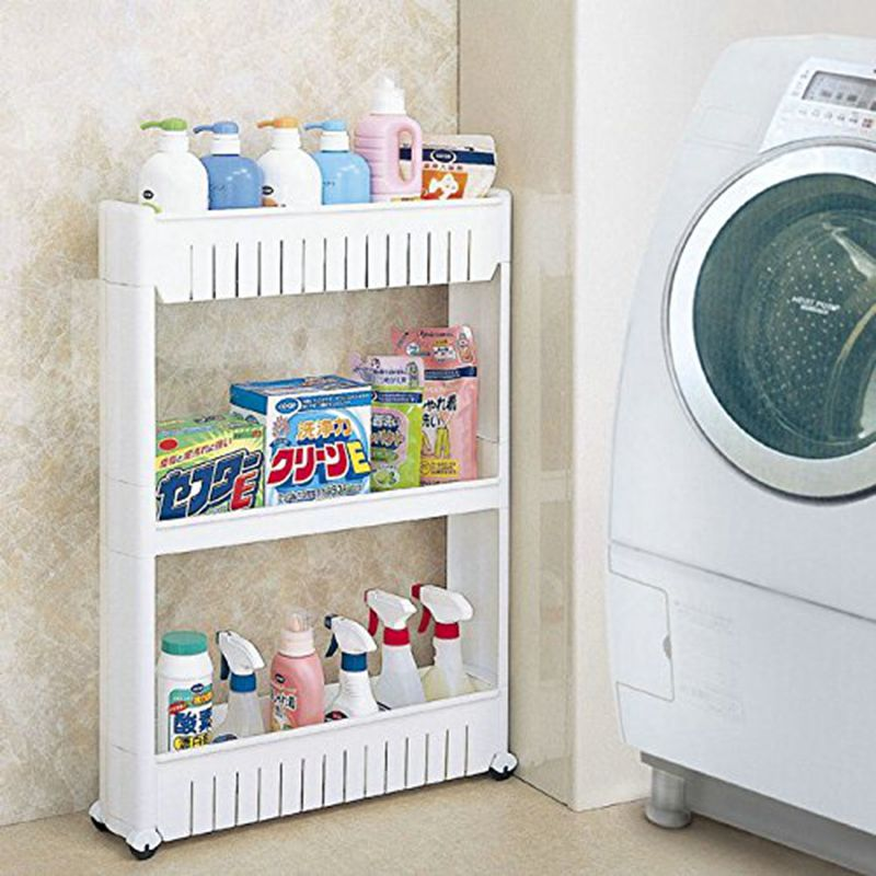 Pratical White 3 Tier Slide Out Hollow Storage Tower in Bathroom With Wheels Home Kitchen Shelf