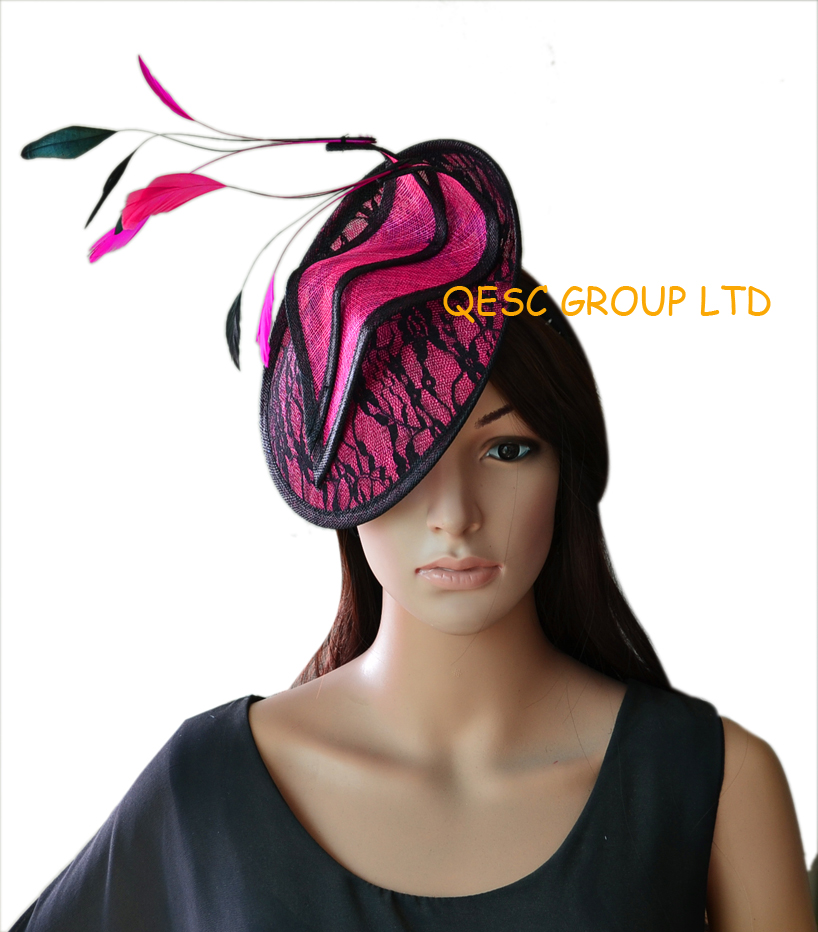 NEW Hot pink Lace sinamay fascinator hat with 4pcs hot pink cocktail  feathers and 4pcs black cocktail feathers for wedding. 0b9816db52a