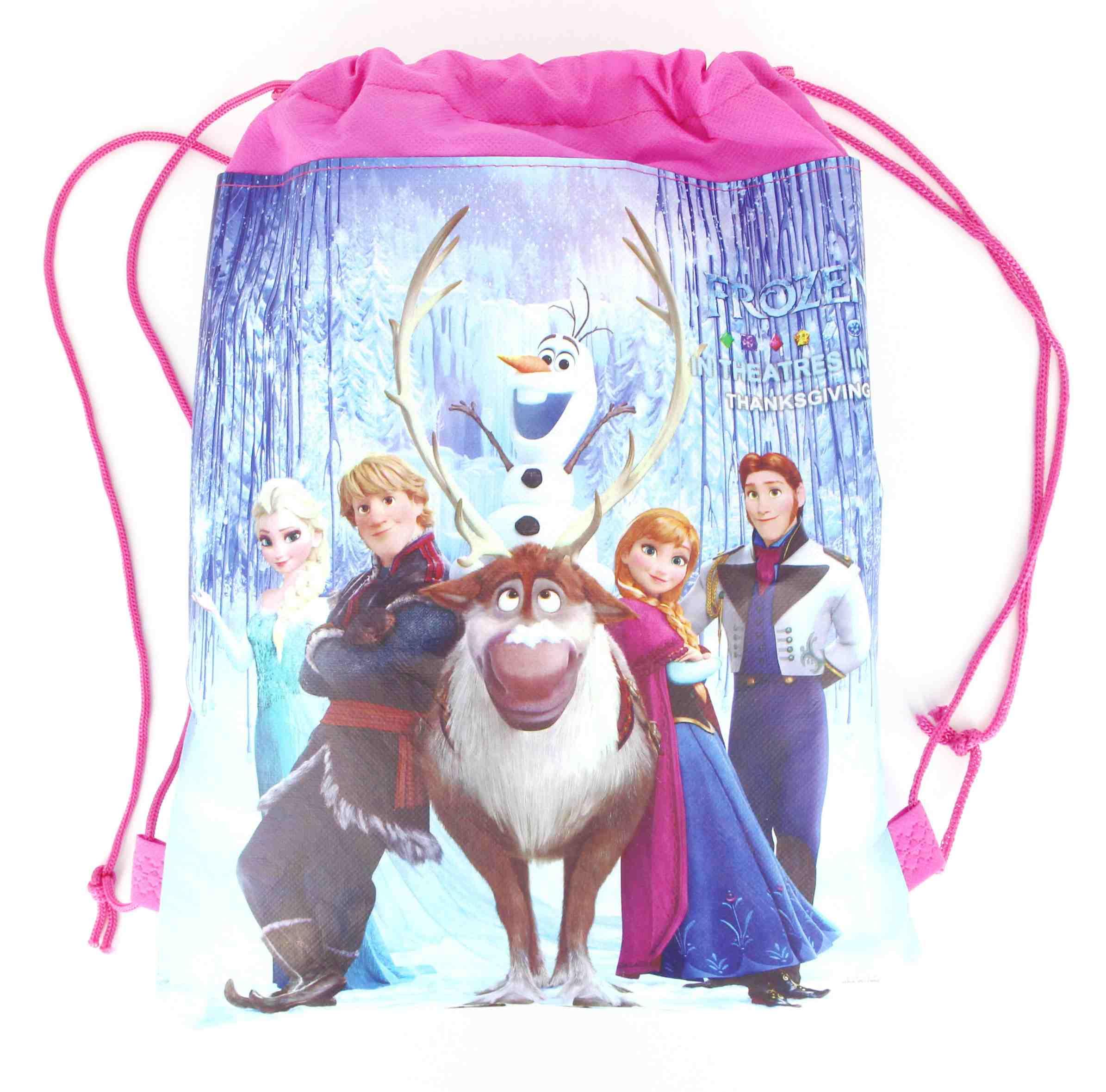1pcs Disney Frozen Party Anna Elsa princess Drawstring Bags Non-woven Fabrics Drawstring Backpack School Shopping Bag For Kids
