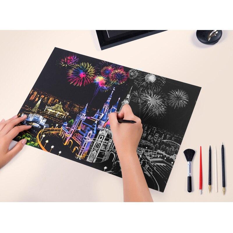 DIY pared pinturas decorativas colorido ciudad Nightscapes paisaje mundial arañazos raspado pinturas regalos de cumpleaños creativos