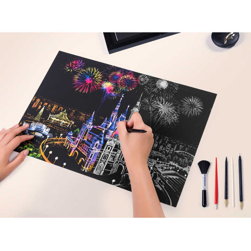 DIY pinturas decorativas de pared ciudad colorida paisajes nocturnos escenario del mundo arañazos raspado pinturas regalos creativos de cumpleaños