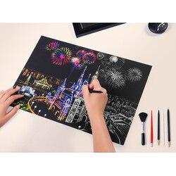 DIY wand Dekorative Gemälde Bunte Stadt Nightscapes Welt Landschaft Kratzer Schaben Gemälde Kreative Geburtstag Geschenke