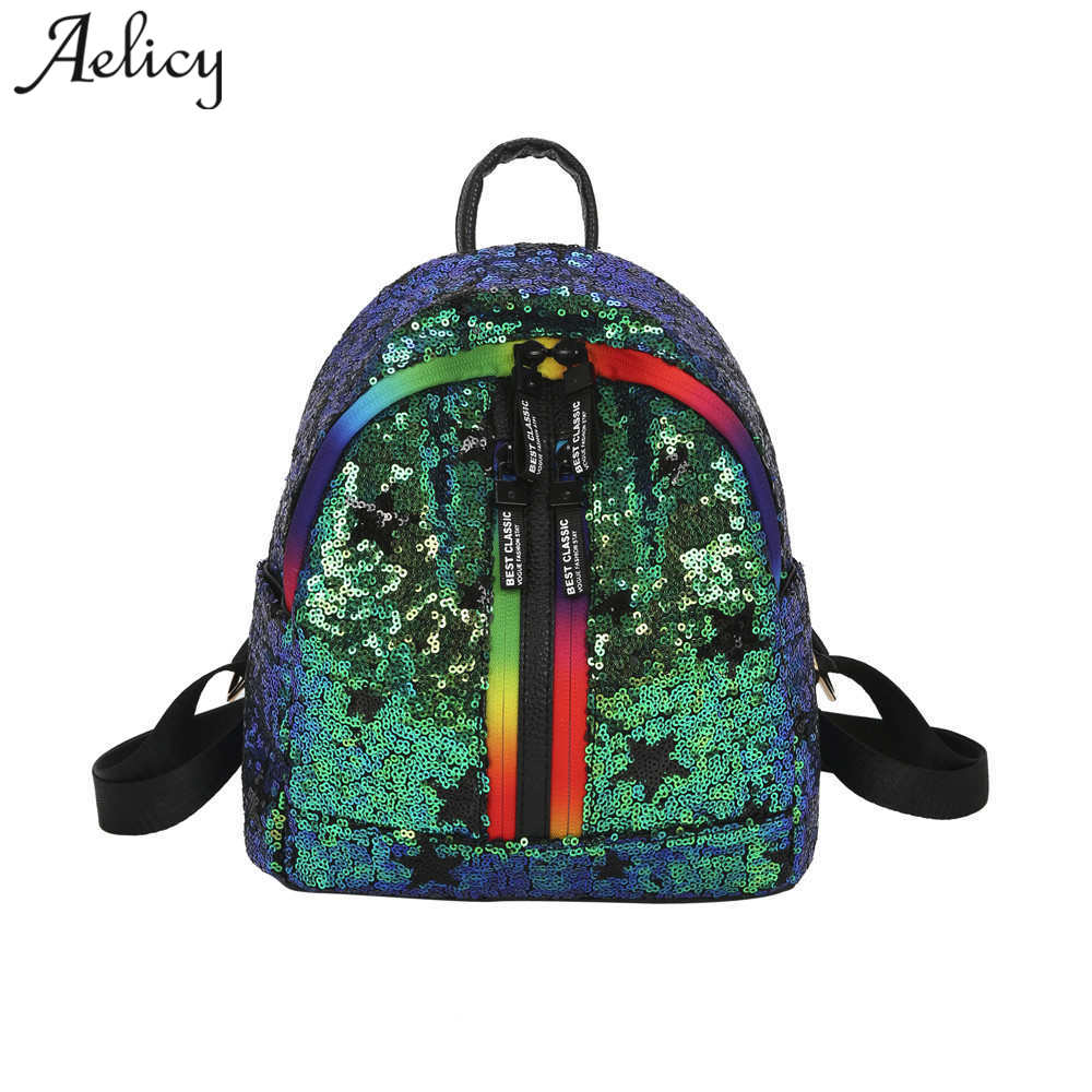 Aelicy New High Quality Fashion Womens Shinning Glitter Bling Backpack Sequins PU Leather Backpack Preppy Travel School Bag