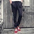 2016 new men's cotton casual pants loose big yards knitted trousers simple personality printing summer thin section sweatspants