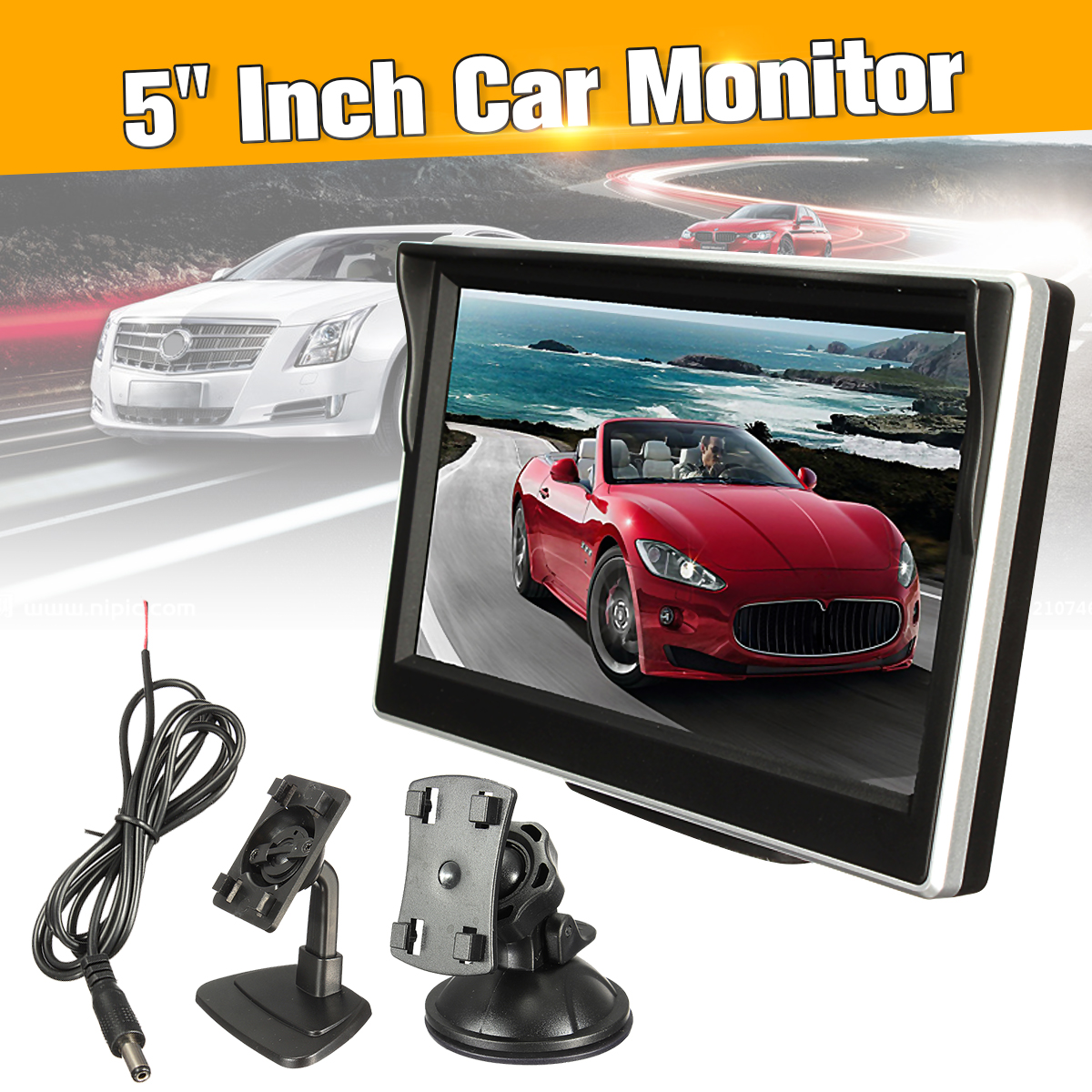 Alician 9 Inch TFT LCD Monitor in-Car Headrest//Stand Ultra-Thin Design 800x480 Resolution