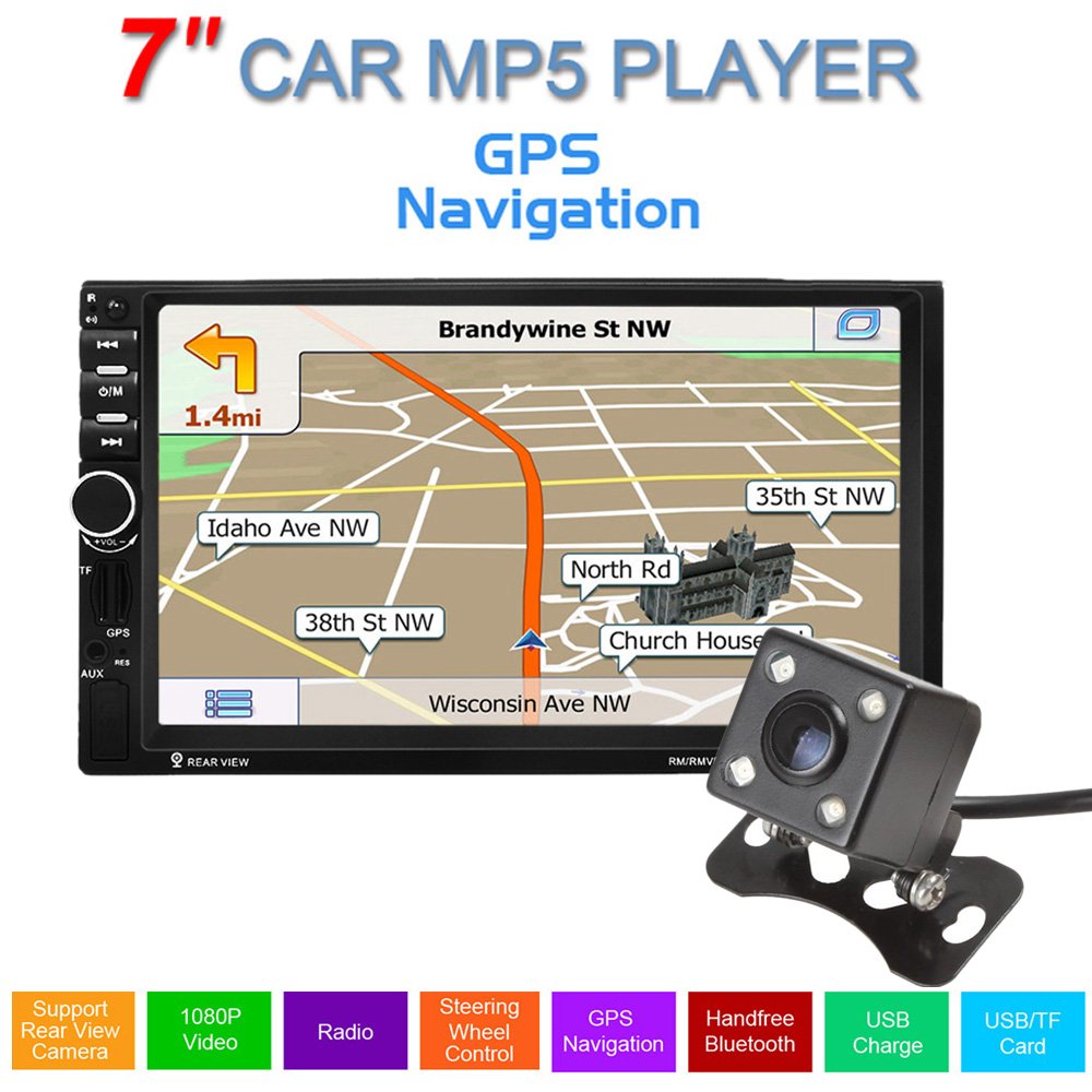 Car GPS Navigation 7 inch 2 Din Touch Screen Auto Car FM Radio Stereo MP5 Player Support hands-free calls + 420TVL IR Camera 7 inch 2 din bluetooth car stereo multimedia mp5 player gps navigation fm radio auto rear view camera steering wheel control