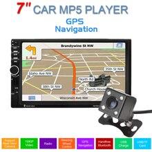 Navegación del GPS del coche 7 pulgadas 2 Din Pantalla Táctil Auto Del Coche Radio FM Estéreo Reproductor MP5 Apoyo llamadas manos libres + 420TVL IR cámara
