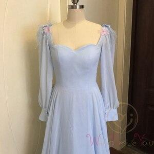 Image 4 - Небесно Голубые Вечерние платья с длинными рукавами из шифона с перьями, а силуэта, бальное платье для выпускного вечера, 2020, прогулка рядом с вами