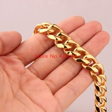 Hotsale 7-40″ Charming Gift Fashion 12mm Stainless Steel Gold color  Curb Cuban Chain Necklace Bracelet Highly Quality Jewelry