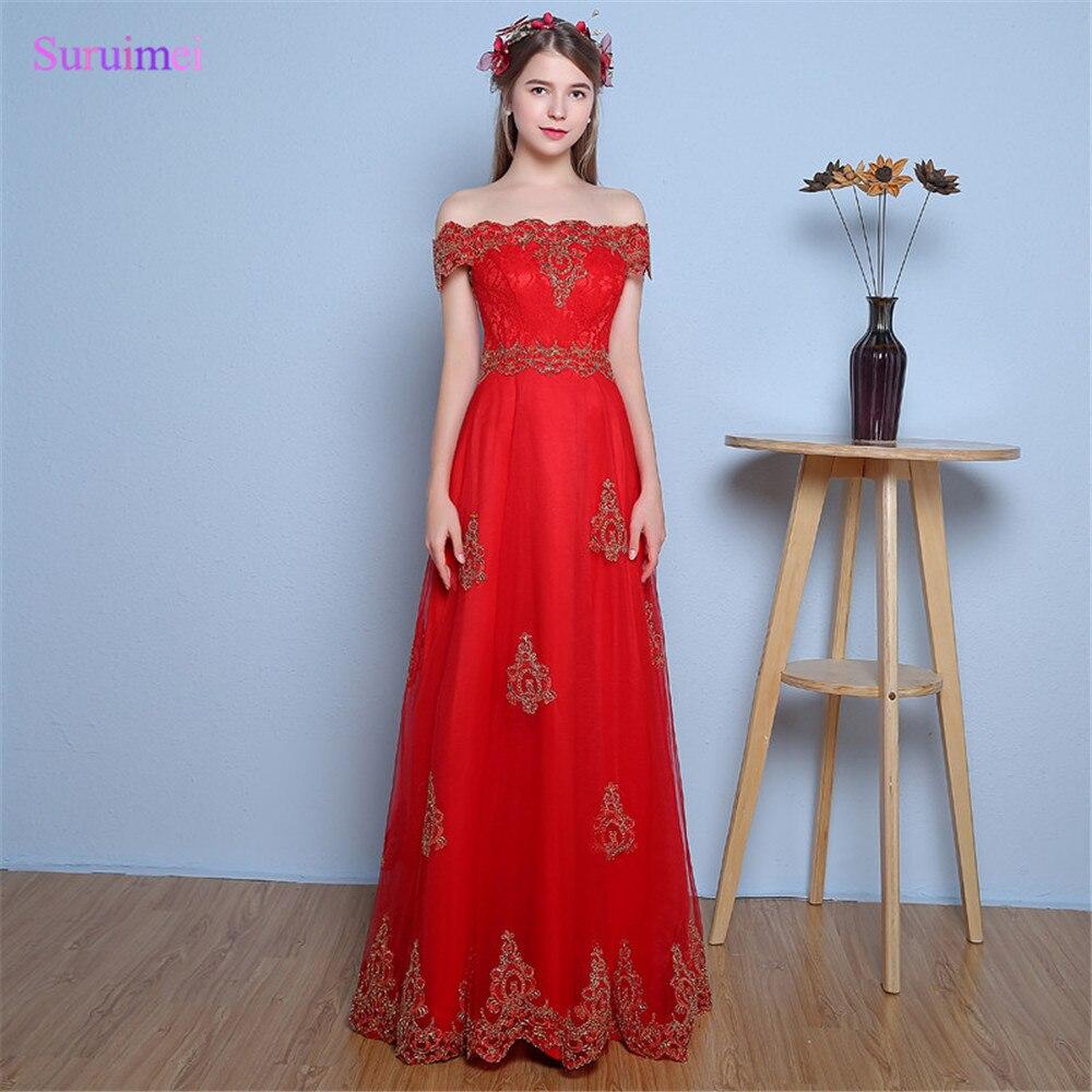 Robes de demoiselle d'honneur rouge couleur de contraste avec broderie dentelle or Tulle col bateau manches Corset dos longues robe de demoiselle d'honneur