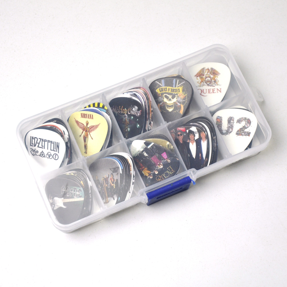 Image 2 - Lots of 100Pcs Rock Band 2 sides Printing Guitar Picks Plectrums With box LED Zeppelin Nirvana ACDC Aerosmith-in Guitar Parts & Accessories from Sports & Entertainment