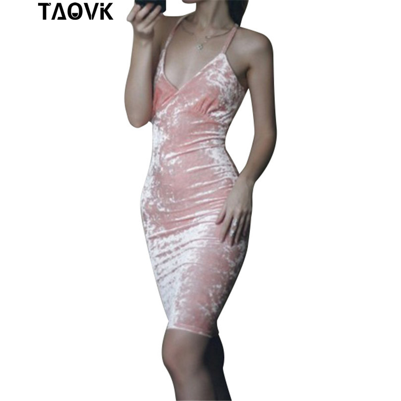 TAOVK new fashion Russian style Women Sexy Bodycon Pink Velvet Strap Dress V-neck Dress Sexy Party Dress