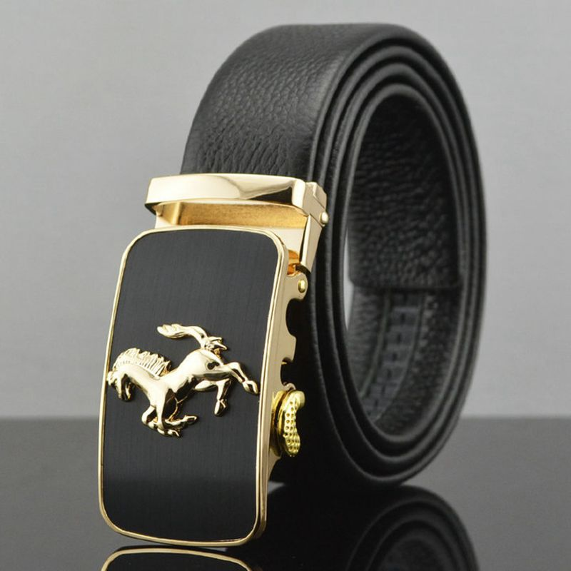 2018 Hot sale casual automatic buckle   belt   men's designer strap size 130 luxury   belts   for men cowboy black girdle formal C08219