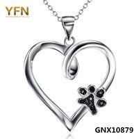 GNX10879 100% Echt 925 Sterling Silber Herz Anhänger Halsketten Mit Schwarz Zirkonia Hund Pfote valentinstag Geschenk Für Frauen