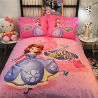 Pink Disney Sofia the First 3D Printed Bedding Bedspreads Bed Sets Single Twin Full Queen King Size Baby Girl's Kids Children's