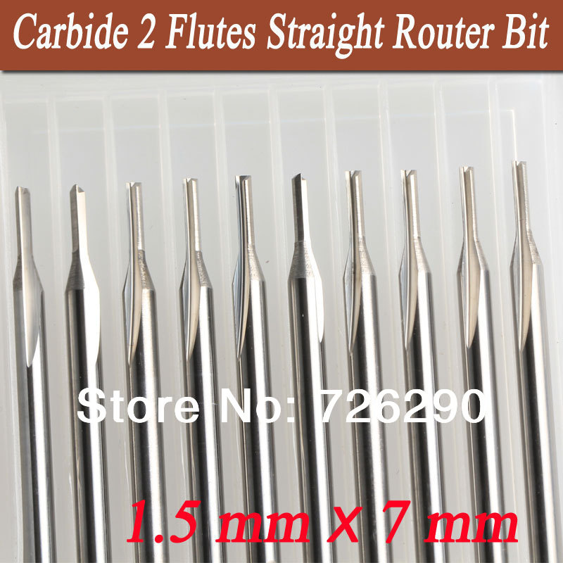 10pcs 3.175*1.5*7mm Two straight flutes milling cutter carbide cutting tools cutting tools for cnc engraving machine