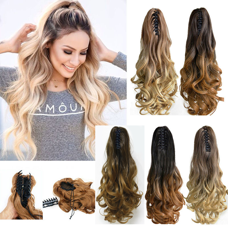Buy 20 Synthetic Claw Pony Tail Ponytail Clip In On Hair Extension Wavy Curly
