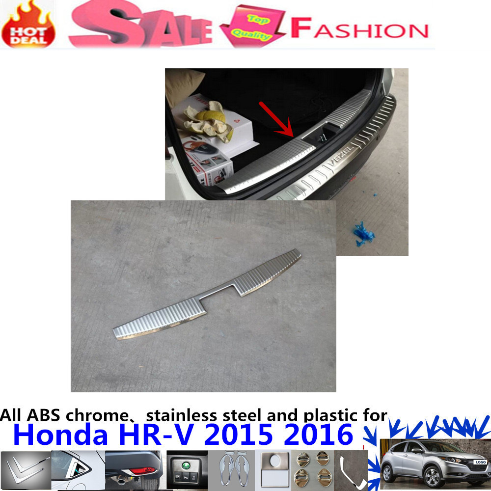 Free shipping Car inside Rear Bumper trim Stainless Steel Scuff Sill trunk plate pedal cover 1pcs for Honda HR-V HRV 2015 2016 car rear trunk security shield cargo cover for volkswagen vw tiguan 2016 2017 2018 high qualit black beige auto accessories