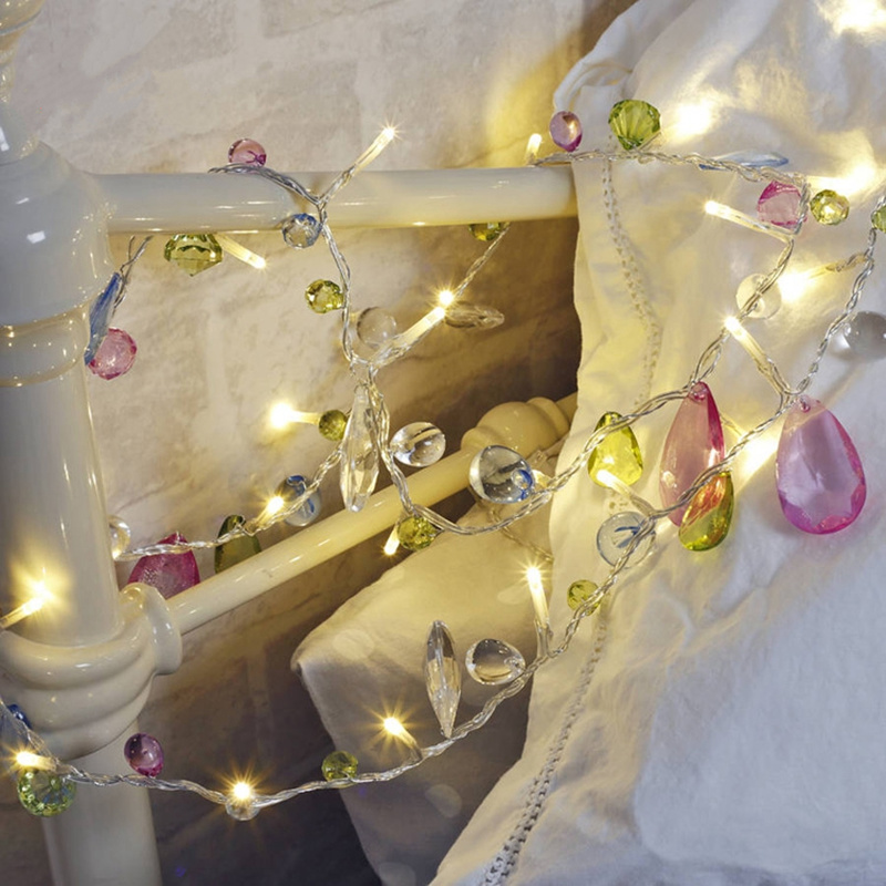 European precious stones string light battery power beaded lamp fairy lights garden decoration wedding party supplies home decor