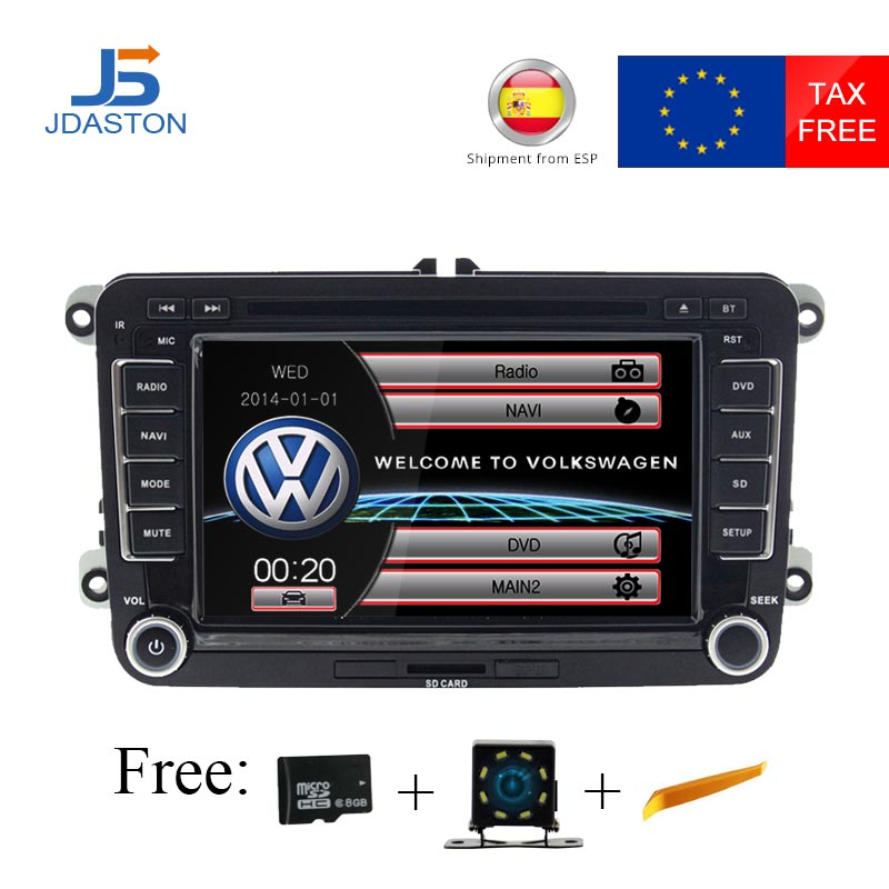 JDASTON 2 DIN 7 Inch Car DVD GPS Radio For Skoda Volkswagen VW Passat B6 Polo Golf 4 5 Touran Sharan Jetta Caddy T5 Tiguan Bora bluetooth link car kit with aux in interface & usb charger for vw bora caddy eos fox lupo golf golf plus jetta passat polo