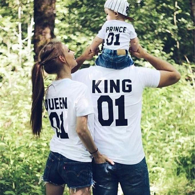 King Queen Couple Clothes T Shirt Daughter Son Family Matching