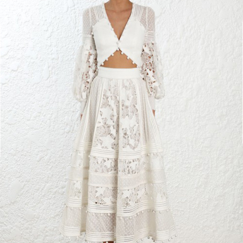 add35db332d90 Ordifree 2019 Summer Luxury Women 2 Piece Set Long Maxi Skirt Party Dress  Long Sleeve White Lace Sexy Crop Top and Skirt Sets