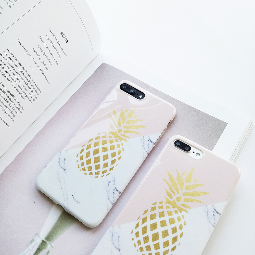 Pineapple Phone Case For iPhone 7 Plus XR XS Max Pineapple Marble Hard PC Cover Cases For iPhone X 8 6 Plus in Fitted Cases from Cellphones Telecommunications