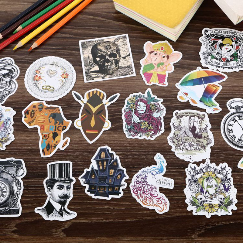 108 Pcs/Set Mixed Classic Fashion Waterproof Graffiti Sticker For Laptop Skateboard Guitar Bicycle Decal Car-Styling Toy Sticker