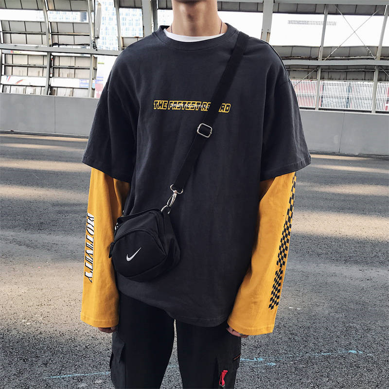 Harajuku Patchwork Tshirt Men Hip Hop Tshirt Streetwear Long Sleeve Loose Punk T Shirt Fashion Couple  Japan Oversize T Shirt