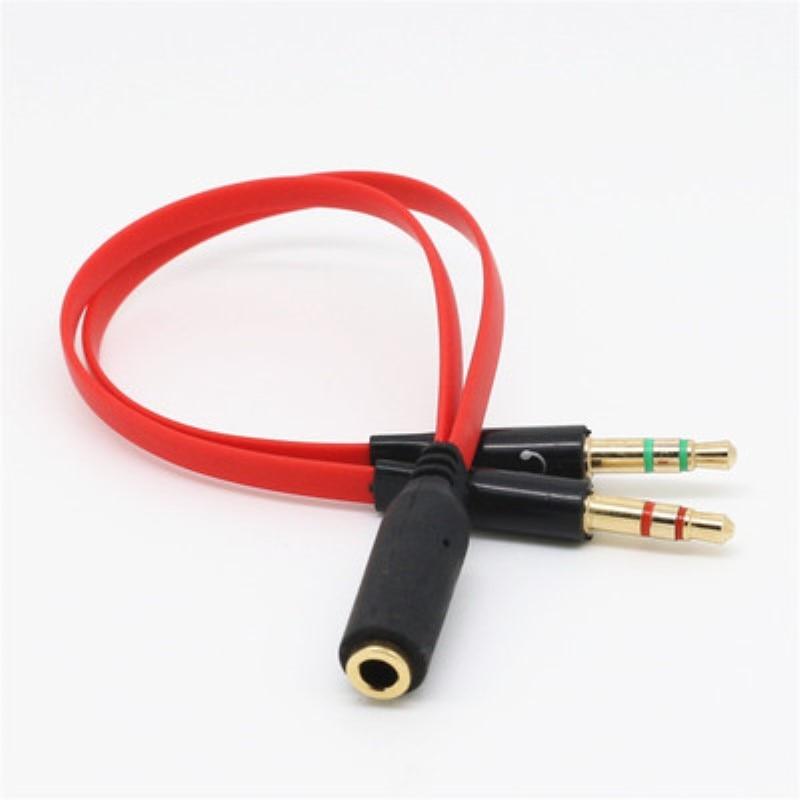 Câble Audio Jack 3.5mm micro séparateur découteurs plaqué or 3.5mm Jack AUX câble cordon pour Microphone dordinateur