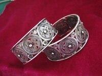 Miao silver bracelet handmade traditional pinch silk butterfly copper drum bracelet